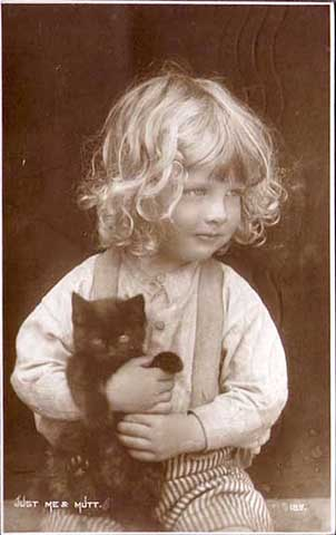 Postcard of little boy with cat